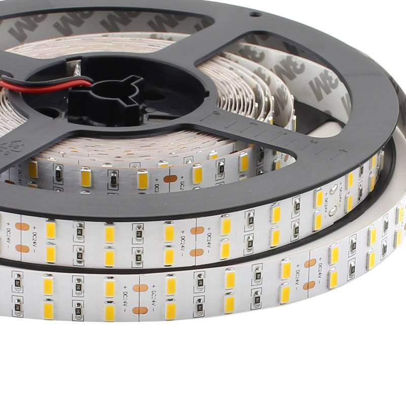 Tira LED Monocolor SMD5630, ChipLed Samsung, DC24V, 5m (120 Led/m 2 filas) - IP20, Blanco neutro